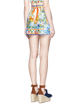 Back View - Click To Enlarge - Dolce & Gabbana - Orange floral foulard print silk twill shorts