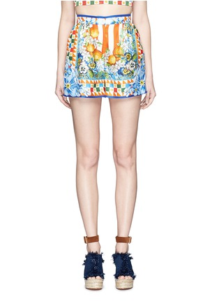 Main View - Click To Enlarge - Dolce & Gabbana - Orange floral foulard print silk twill shorts