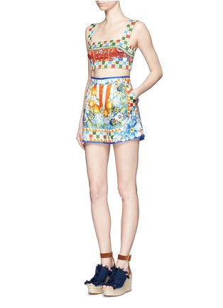 Figure View - Click To Enlarge - Dolce & Gabbana - Orange floral foulard print silk twill shorts