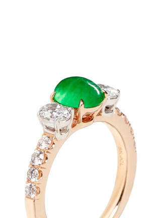Detail View - Click To Enlarge - Samuel Kung - Jade diamond 18k rose gold ring