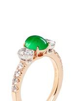 Jade diamond 18k rose gold ring