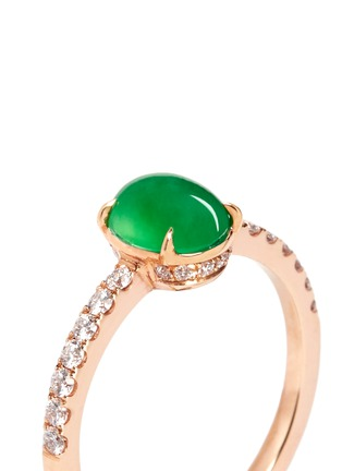 Detail View - Click To Enlarge - Samuel Kung - Jade cabochon diamond 18k rose gold ring
