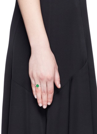 Samuel Kung - Jade cabochon diamond 18k white gold ring