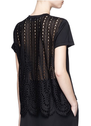 Back View - Click To Enlarge - Valentino - San Gallo lace back jersey T-shirt