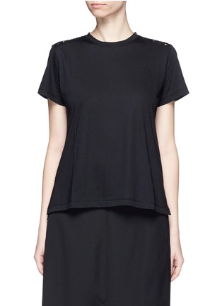 Main View - Click To Enlarge - Valentino - San Gallo lace back jersey T-shirt