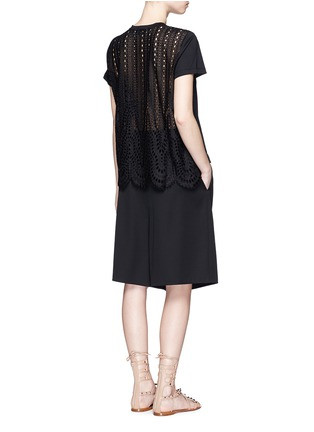 Figure View - Click To Enlarge - Valentino - San Gallo lace back jersey T-shirt