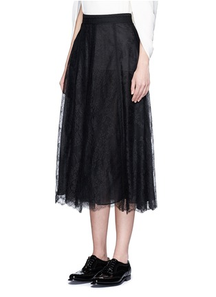 Front View - Click To Enlarge - Valentino - Chantilly lace midi skirt