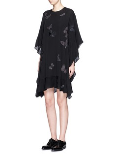 VALENTINO'Camubutterfly Noir' embroidery silk georgette dress