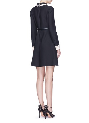 Back View - Click To Enlarge - Valentino - Double collar wool-silk crepe couture belted dress