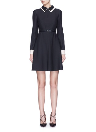 Main View - Click To Enlarge - Valentino - Double collar wool-silk crepe couture belted dress