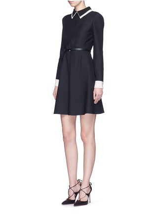 Figure View - Click To Enlarge - Valentino - Double collar wool-silk crepe couture belted dress