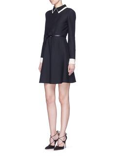 VALENTINODouble collar wool-silk crepe couture belted dress