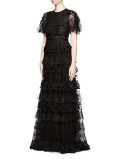VALENTINOLace feather bead appliqué tulle gown
