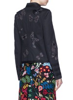 'Camubutterfly Noir' embroidery cotton twill band jacket