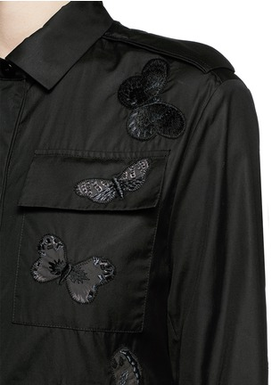 Detail View - Click To Enlarge - Valentino - 'Camubutterfly Noir' embroidery cotton romper