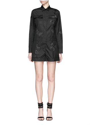 Main View - Click To Enlarge - Valentino - 'Camubutterfly Noir' embroidery cotton romper