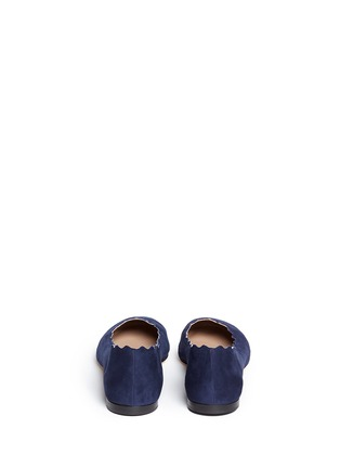 Back View - Click To Enlarge - Chloé - 'Lauren' scalloped edge suede flats
