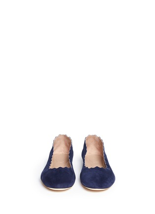 Figure View - Click To Enlarge - Chloé - 'Lauren' scalloped edge suede flats