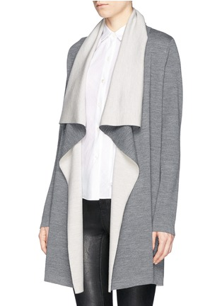 Front View - Click To Enlarge - Vince - Two tone drape front long cardigan
