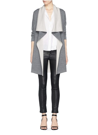 Figure View - Click To Enlarge - Vince - Two tone drape front long cardigan