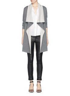 VINCE Two tone drape front long cardigan
