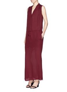 VINCEShirred shoulder silk maxi dress