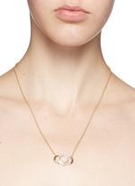'Luna Crescent' diamond pavé opal cabochon 18k gold necklace