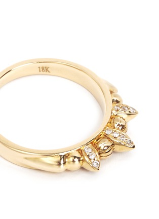 Detail View - Click To Enlarge - Pamela Love - 'Thin Tribal Spike' diamond pavé 18k gold ring