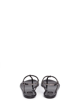 Back View - Click To Enlarge - René Caovilla - Crystal T-strap flat sandals