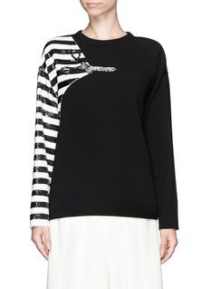 CHLOÉSequin stripe scissor appliqué pullover