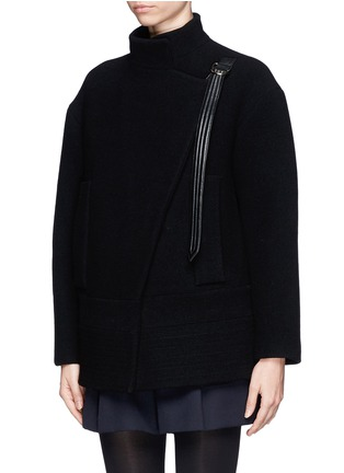 Front View - Click To Enlarge - Chloé - Faux leather strap wool-blend jacket
