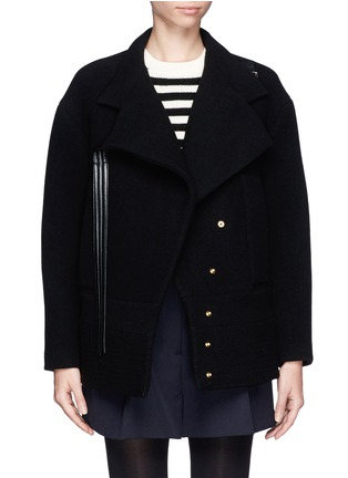 Main View - Click To Enlarge - Chloé - Faux leather strap wool-blend jacket