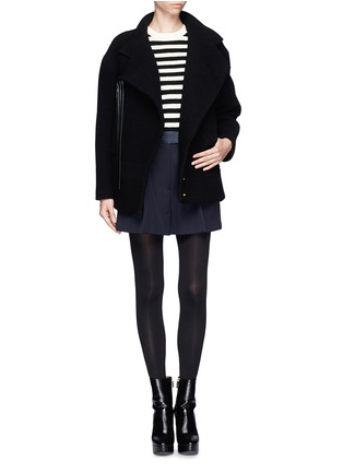 Figure View - Click To Enlarge - Chloé - Faux leather strap wool-blend jacket