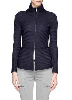 ARMANI COLLEZIONIRib knit peplum zip cardigan