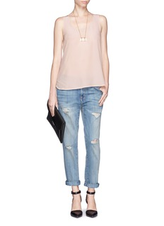 VINCE Silk crepe front jersey sleeveless top