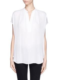 VINCEGathered neckline silk blouse