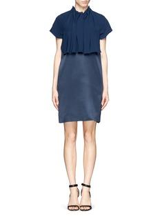 ELLERY'Cyrus' gathered crepe overlay satin shift dress