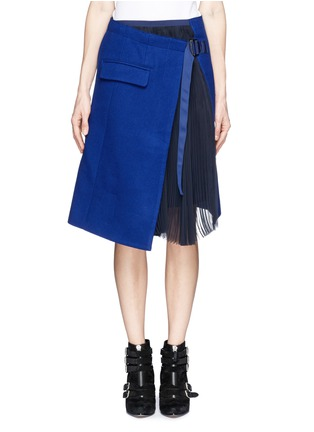 Main View - Click To Enlarge - Sacai - Plissé pleat chiffon felt wrap skirt
