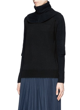 Front View - Click To Enlarge - TOGA ARCHIVES - Detachable snood contrast knit sweater