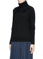 Detachable snood contrast knit sweater