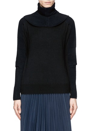 Main View - Click To Enlarge - TOGA ARCHIVES - Detachable snood contrast knit sweater