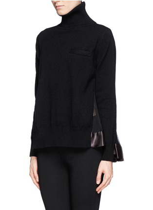 Front View - Click To Enlarge - Sacai - Plissé pleat chiffon back turtleneck sweater