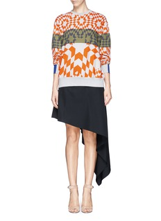 PREEN BY THORNTON BREGAZZI Geometric check stripe sweatshirt