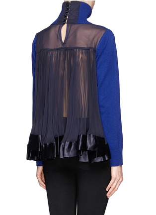 Back View - Click To Enlarge - Sacai - Plissé pleat chiffon back turtleneck sweater