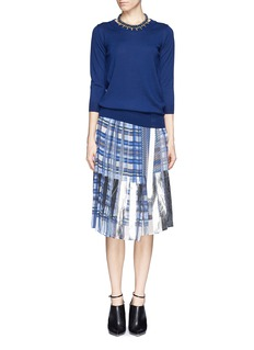 SACAI Tartan pleat chiffon wrap skirt