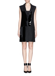 VICTORIA, VICTORIA BECKHAM Calf hair and patent leather wool suit dress
