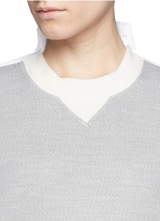 Detail View - Click To Enlarge - Sacai - Double face wool blend combo sweatshirt