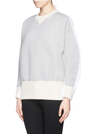 Front View - Click To Enlarge - Sacai - Double face wool blend combo sweatshirt
