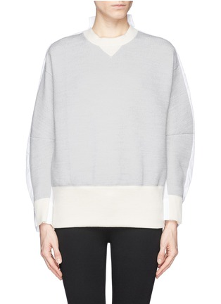 Main View - Click To Enlarge - Sacai - Double face wool blend combo sweatshirt