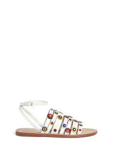 Tory Burch 'Marguerite' floral patch strappy leather sandals